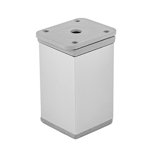 Gedotec Möbelfüß Aluminium Sockelfuß höhenverstellbar - Schrankfuß verstellbar - KATRIN | Höhe 75 mm | Fußrohr eckig | Füße +15 mm höhen verstellbar | 1 Stück - Möbel-Bein Alu silber eloxiert