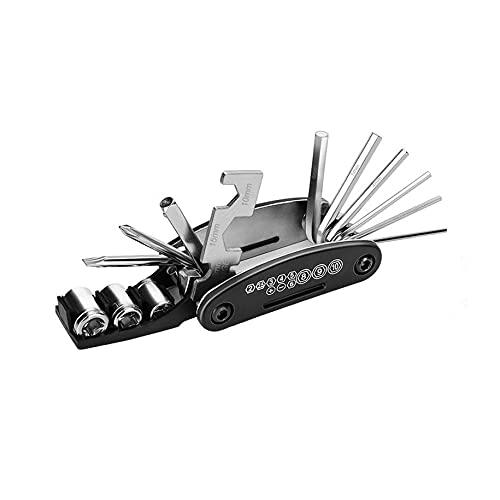 Kit de reparación de bicicletas multifuncional 16 en 1 herramienta llave hexagonal neumático parche palanca portátil práctico multi herramienta