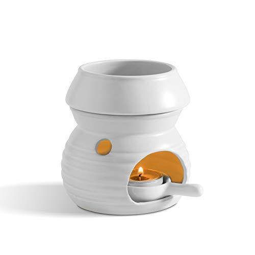 ComSaf アロマポット 陶器 アロマ炉 アロマキャンドルホルダー キャンドルバーナー アロマバーナー アロマディフューザー マット 白