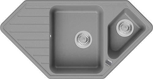 Granitspüle Grau 97 x 49 cm, Spülbecken + Siphon Automatisch, Eckspüle ab 80er Unterschrank in 5 Farben mit Siphon und Antibakterielle Varianten, Küchenspüle von Primagran