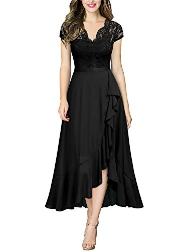 MIUSOL Damen Spitzenkleid Hüfte öffnen Abendkleid Cap Ärmel Cocktailkleid Maxi Partykleid Schwarz XL