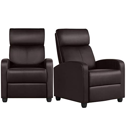 YAHEETECH Padded Seat Recliner Chair Set of 2 Single Sofa Recliner Home Theater Seating PU Leather Upholstered Reclining Chair Brown