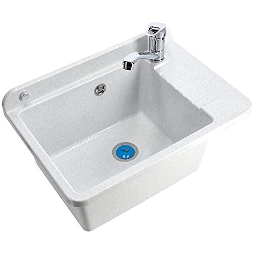 GOSPO Ausgussbecken aus Polypropylen, 50,4 x 34 x 26,5 cm, Spülbecken mit Siphon und Montageset, Waschbecken, Waschtrog, Haushaltsspülbecken (Weiß)