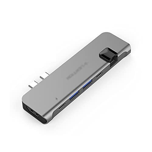 Hub USB USB C Hub 6 en 2 USB C Adaptador multiport USB C Statio de Acoplamiento (100 PD, 4K HDMI, 2 USB 3.0 y USB C, Gigabit Ethernet) Dock Station (Color : Grey)