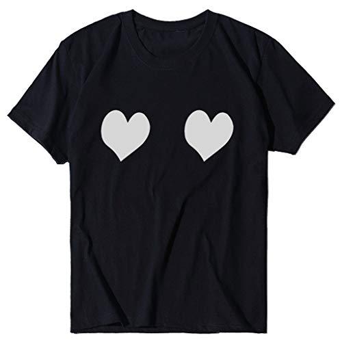 T-Shirt Frauen Sommer Herzdruck O-Ausschnitt Kurzarm Casual Tee Tops (S,2Schwarz)