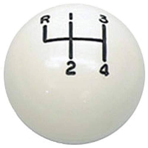Eckler's Premier Quality Products 33-179942 Camaro Shifter Knob, Manual Transmission, White Ball, 5/16'Thread, 4-Speed Shift Pattern, For Cars With Muncie Shifter,1