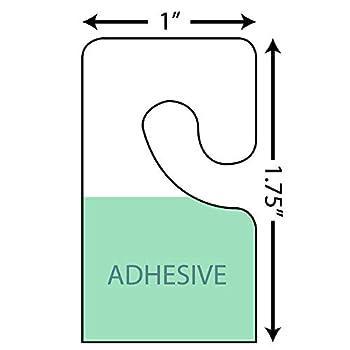 1  x 1-3/4  Hook Style Adhesive Hang Tabs - 1000/Pack - Plastic Retail Hang Tags