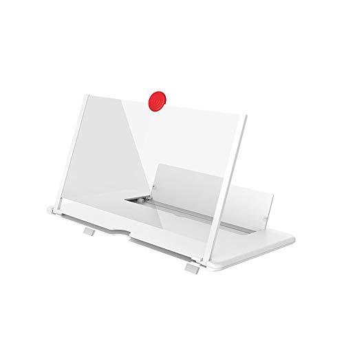 KANJJ-YU Amplificador DE Pantalla 3D TELÉFONO MÓVIL MOCIPANTE Historia DE HIGHTDEFINITION Stand DE Pantalla DE PLATACIÓN DE Video Pantalla DE PROTECCIÓN ANTILIZADOR LED (Color : White)