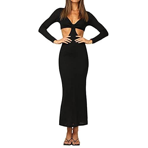 Abito da Sera Donna Lungo Vestito Elegante da Cerimonia Scollo a V Sexy Manica Lunga Vestito Aderente Tinta Unita da Cocktail Morbido S-XL (Nero, M)