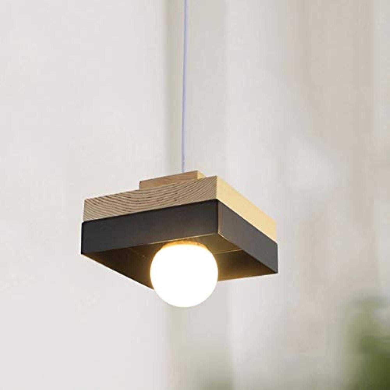 E27 E26 Kronleuchter Für Esszimmer,eisen Holz Kronleuchter Modern Für Living Room Schlafzimmer Bar-schwarzes Quadrat