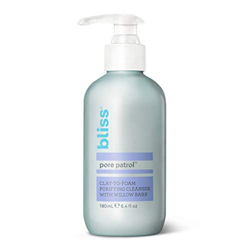 Bliss Pore Patrol Cleanser, Clay-to-Foam Purifying and Detoxifying Cleanser with Willow Bark, Minimizes the Appearance of Pores, Hypoallergenic, Made Without Parabens, 6.4 oz