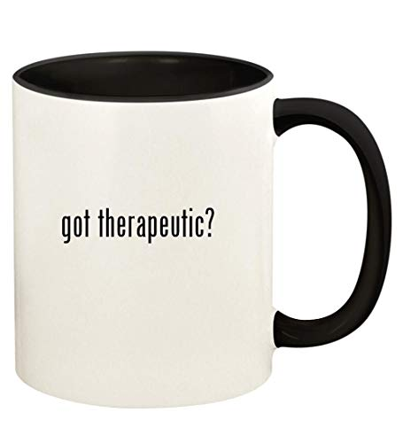got therapeutic? - 11oz Ceramic Colored Handle and Inside Coffee Mug Cup, Black