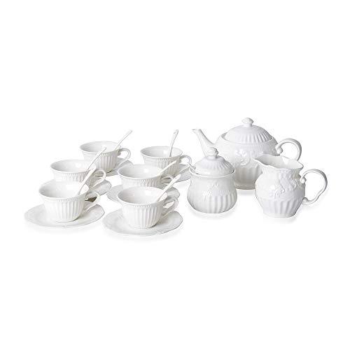 Art Deco Porcelain Tea Set of 22, 1 Tea Pot, 6 Mug,6 Saucers, 7 Spoons,1 Sugar Jar, 1 Milk Jar