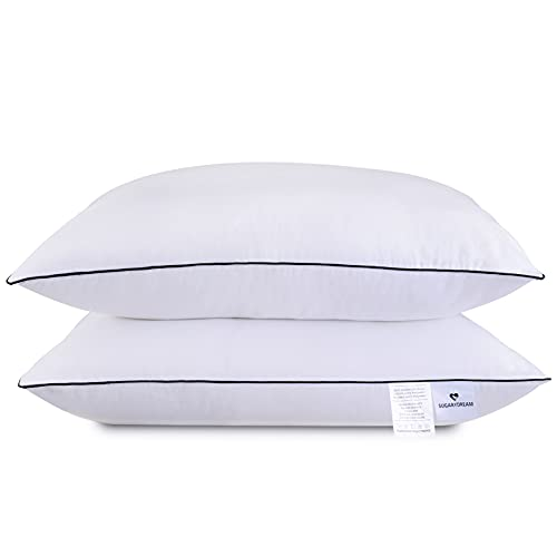 SUGARYDREAM Bed Pillows for Sleeping 2 Pack, Sleeping Pillows for Side and Back Sleeper Hotel Pillows Down Alternative Pillow with Super Soft Plush Fiber Fill,Standard Size 18.1x25.2in
