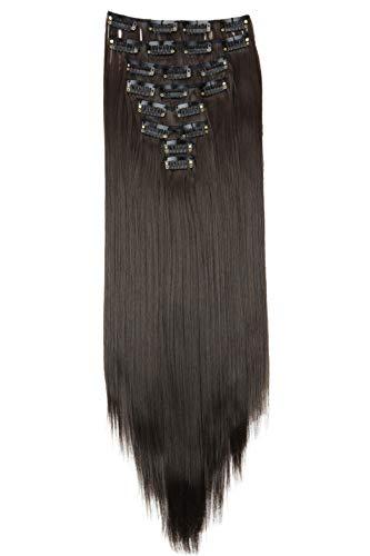 PRETTYSHOP XXL 60cm 8 Teile Set CLIP IN EXTENSIONS Haarverlängerung Haarteil Voluminös Glatt Braun CES22