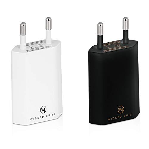 Wicked Chili 2X Pro Series Netzteil USB Adapter kompatibel mit Apple iPhone, Samsung Galaxy/Handy Ladegerät, Smartphone Netzstecker (1A, 5V) schwarz/weiß