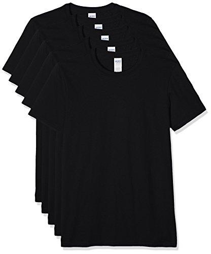 Gildan Herren 64000 T-Shirt, Schwarz, S (5er Pack)