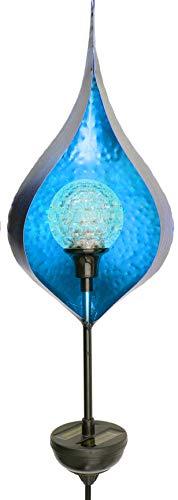matrasa Solarfackel Metall mit Drehkugel & Farbwechsel Dekobeleuchtung Garten SOLAR Blume Solarleuchte 113 cm BLAU