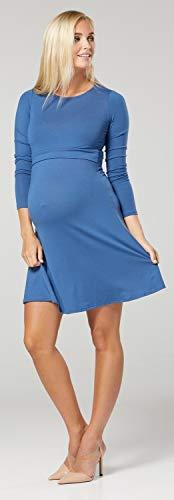 Zeta Ville – Stillen A-Linie Kleid Schwangere Rundhalsausschnitt – Damen – 128c (Blau Jeans) - 3