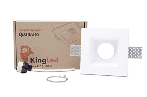 KingLed – Spot Encastrable en Plâtre Céramique Modèle Carré pour Faux Plafond, pour LED GU10, Support de lampe GU10 inclus 120x120x64mm Code.0628