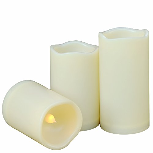 Weatherproof Flameless Candles with 6 H Timer-1000 Hours Long Battery Life, Waterproof Battery Operated Flickering LED Pillar Candles for Outdoor Party Decor and Gifts.( 4' 5' 6' Ivory)