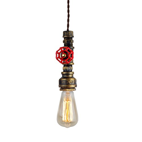 Judy Lighting Vintage Industrial Pipe Light Fixture, Farmhouse Style Metal Pendant Lights, Aged...