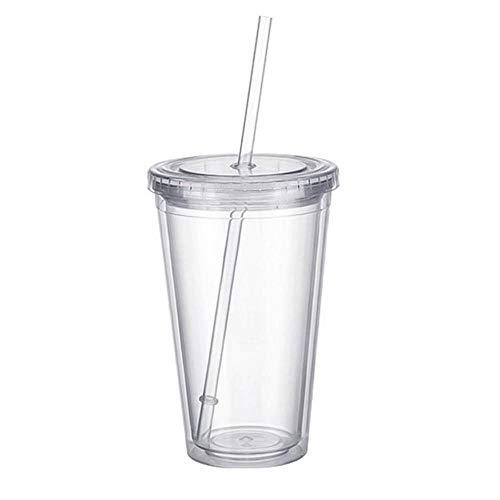 Chanety,taza de agua aislada,taza de agua 1 unids doble pared hielo bebida fría café jugo té taza taza taza taza de smoothie viajar con paja plástico reutilizable helado d1x4 taza de agua plegable