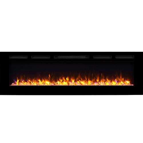PuraFlame Alice 68 Inches Recessed Electric Fireplace, Wall Mounted for 2 X 6 Stud, Log Set & Crystal, 1500W Heater, Black