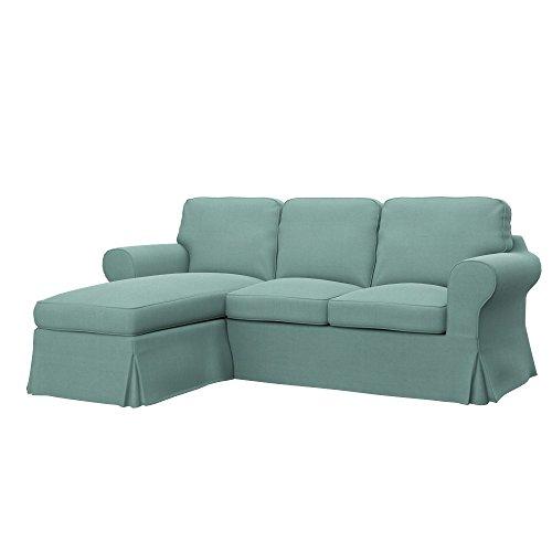 Soferia Ersatzbezug fur IKEA EKTORP 2er-Sofa mit Recamiere, Stoff Elegance Mint, Grün