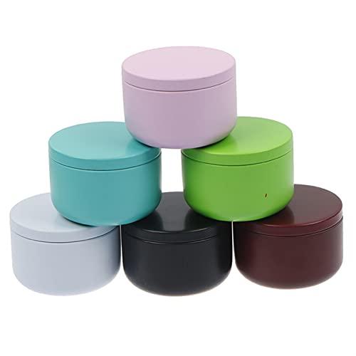 jlbkkyd 6 Piezas de Velas latas de té Caja de Caramelo Caramelo con Forma de Tambor Galleta Festiva Festiva Suministros portátil Caja de hojalata (Color Show)