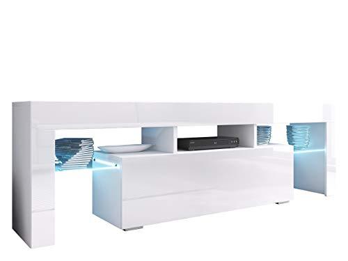 Mirjan24 TV Board Lowboard Toro 138, TV Lowboard mit Grifflose Öffnen, Unterschrank, Sideboard Mediaboard, Fernsehschrank, Mediaboard (mit Blauer LED Beleuchtung, Weiß/Weiß Hochglanz)