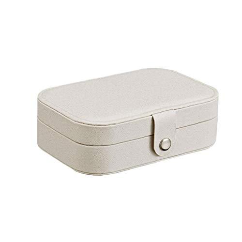 Nicedier Caja de Almacenamiento Caja de la joyería de Collar de Anillos aretes Portable de la joyería Organizador del Caso de exhibición de Almacenamiento con Compartimiento Blanco Organizador 1PC