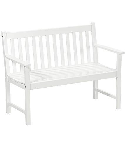 Dehner Gartenbank Mykonos, 2-Sitzer, ca. 120 x 89 x 61 cm, FSC® Akazienholz, weiß