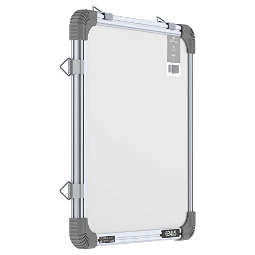 Pragati Systems® Genius Mini Melamine (Non-Magnetic) Whiteboard for Kids and Home (GWB3030), Lightweight Aluminium Frame, 1x1 Feet (Pack of 1)