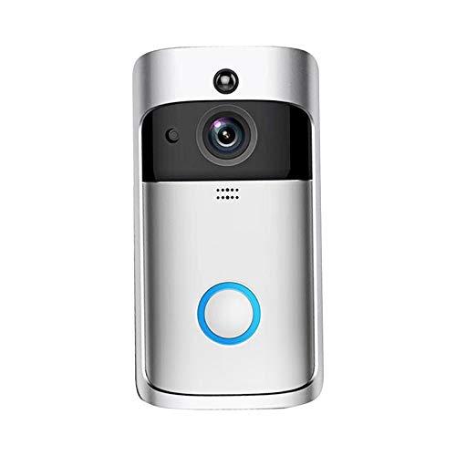 Staright Timbre Inalámbrico de 720P WiFi, Timbre de Video Cámara de Seguridad Impermeable Inteligente de Videoportero,Detección IR Visión nocturna Cámara de seguridad para el hogar (plateado)