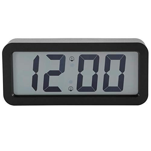 Leftwei con Soporte de Acero Inoxidable Reloj electrónico de Pared Negro, decoración del hogar Función de Calendario Reloj Despertador Digital, para niños Profesores Oficina Dormitorio