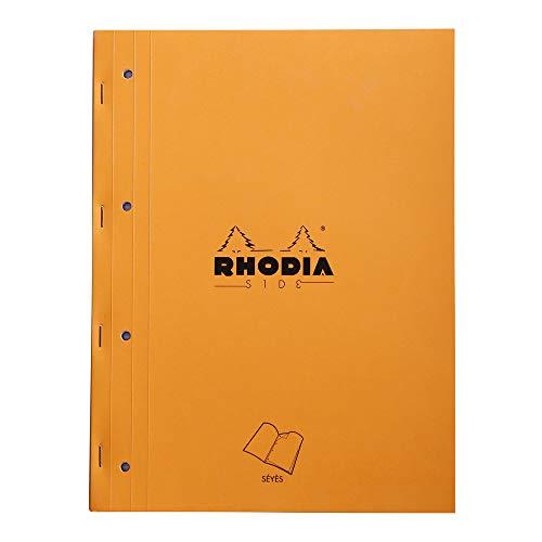 Rhodia 118015C Notizblock (geheftet mit starkem Rücken aus Karton, 22,3 x 29,7 cm, französische Lineatur, 40 Blatt, mikroperforiert, 4-fach gelocht) 1 Stück, orange