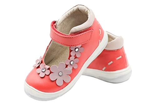 Stups Sommer Halbschuh Sandale Mädchen Girl Leder Koralle Sandalette mit Blumen zur Kommunion Konfirmtion festlicher Schuh (23 EU, Koralle)