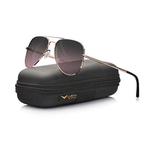LUENX Aviator Sunglasses for Mens Womens Polarized Gradient Black Red Lens Metal Rose Gold Frame 60mm