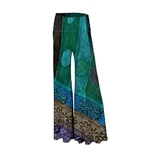 VCAOKF Pantalones divertidos para mujer, holgados, cómodos, elásticos, con estampado de flores, con pernera ancha y pernera ancha verde XL