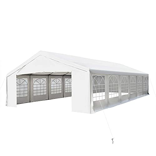 Outsunny 20' x 40' Heavy Duty Carport Commercial Party Canopy with Removable Sidewalls and Windows, White