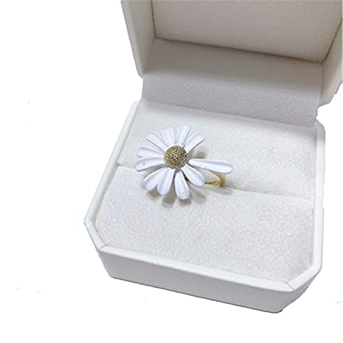 WINFCOY Sweet Cute Daisy Flower Ring, I Think About You Every Daisy Ring, Simple Elegant Flower Adjustable Open Finger Ring, for Women Jewellery Gift (B)