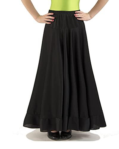 Falda de un Volante de NIÑA para la Danza Flamenco. para Clases de ensayo. Tejido de Punto de Alta caildad con caída y Mucho Vuelo. Made in Spain (Negro, 6 años)