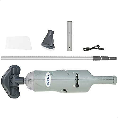Intex 28620NP - limpiafondos manual, Aspirador piscina , Aspirador de fondo de piscinas, autonomía 50 minutos, 2 cepillos intercambiables, tubo telescópico 2,39 cm