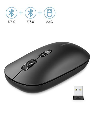 OMOTON Kabellose Maus, Bluetooth5.0 + Bluetooth3.0 + 2.4 GHz Verbindung via Unifying USB-Empfänger, 3 Modus Funkmaus für iPad/PC/Tablet/Laptop mit Windows/Mac/Linux/Android/iOS System, Schwarz