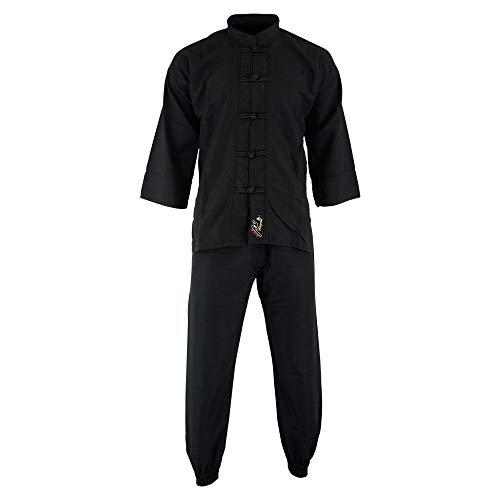 Playwell Elite Kung Fu Microfibra Ultra Ligero Uniforme Todo Negro : Niños - Negro, 2/150cm
