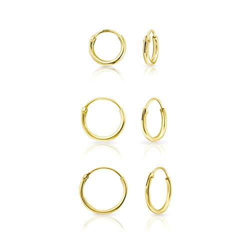DTPsilver® 3 Paare KLEINE Creolen Ohrringe 925 Sterling Silber Gelb Vergoldet - Knorpel/Wendel/Tragus - Dicke 1.5 mm - Durchmesser 8, 10, 12 mm