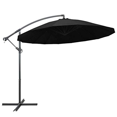 Sombrilla negra de aluminio de 3 m.