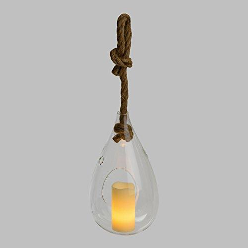 Glastropfen Ø 14,5 x h 27 cm mit LED-Kerze warmweiß, Flackerlicht, mit Zeitschaltuhr, batteriebetrieben, Hängeseil inklusive