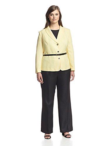 Tahari Women's Belted Shawl Lapel Three Button Pant Suit (14W, Yellow/Black)